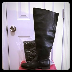 Over the Knee Wide Calf Boots w Gold Detail